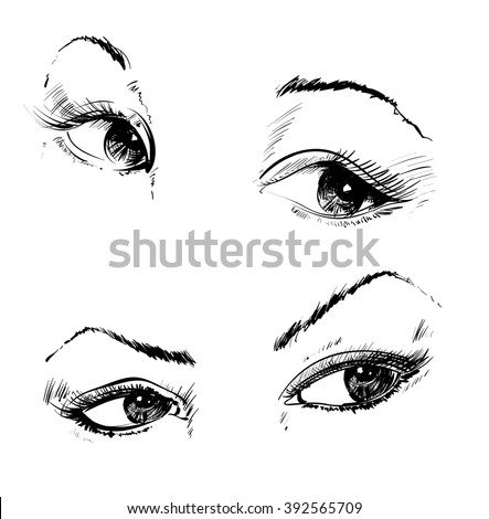 Hand drawing eyes on a white background. Vector illustration - stock vector
