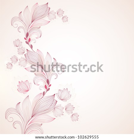 Hand-drawing floral background. Element for design. Vector illustration. - stock vector