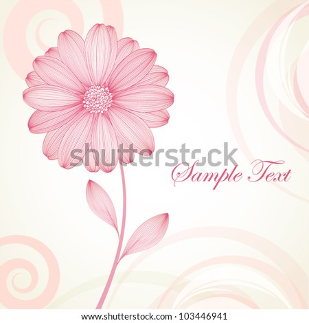 Hand-drawing floral background with flower chamomile. Element for design. Vector illustration. - stock vector
