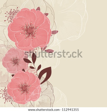 Hand-drawing floral background with flower rose. Element for design. Vector illustration. - stock vector