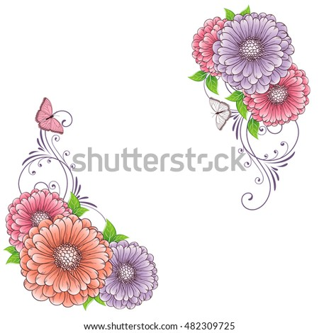 Hand-drawing floral background with flower zinnias and butterflies. Element for design. Vector illustration.