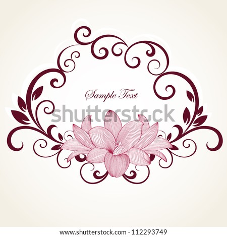 Hand-drawing floral frame with flower lily. Element for design. Vector illustration. - stock vector