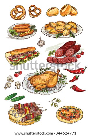 hand drawing food - stock vector