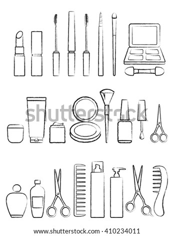 hand drawing graphic black cosmetic icon set on white background