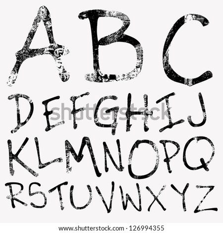 Hand drawing grunge alphabet. Vector - stock vector