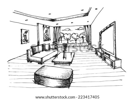 Hand drawing Interior Design for living room on white background, Vector - stock vector