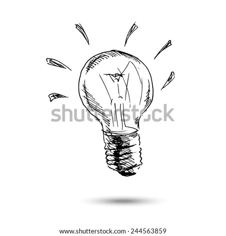 Hand drawing light bulb. Vector illustration - stock vector