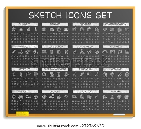 Hand drawing line icons. Vector doodle pictogram set: chalk sketch sign illustration on blackboard. Web, app, mobile, business, finance, technology, time, medical, education, arrow, sport, transport - stock vector
