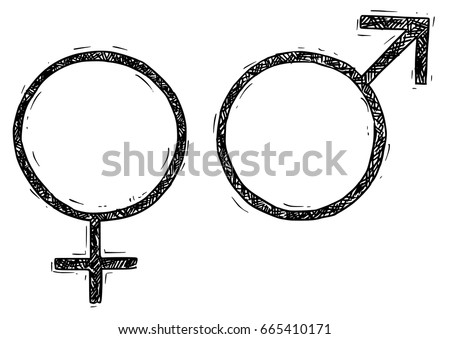 Hand Drawing Male Female Symbols Vector Stock Vector 665410171