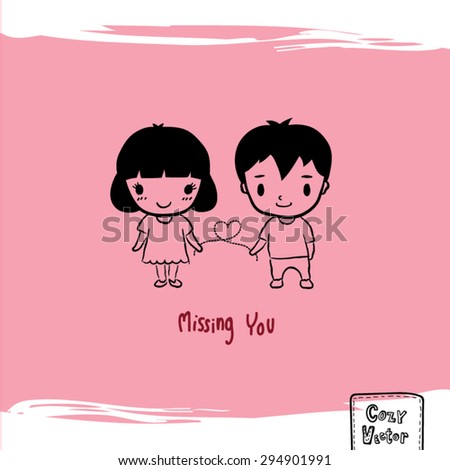 Hand Drawing man and woman cartoon character vector.
