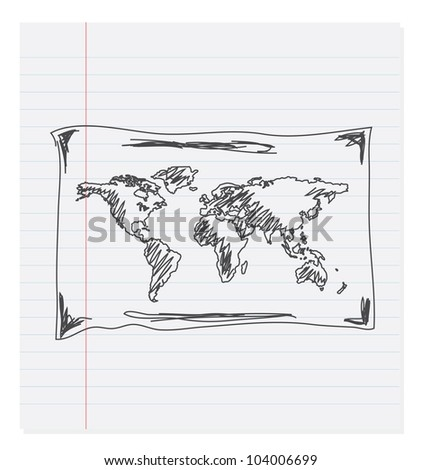 Hand drawing map of the world on paper - stock vector
