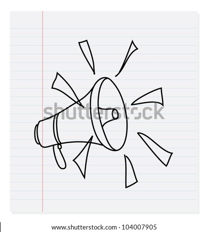Hand drawing megaphone on paper - Vector - stock vector