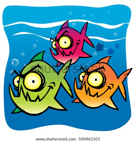 Angry fish stock images royalty free images vectors shutterstock - Dessin piranha ...