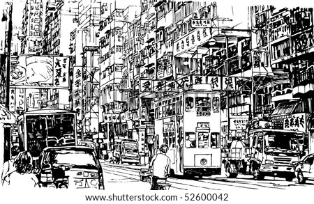 Hand drawing of a street in Hong Kong (vector) - stock vector