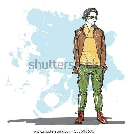 Hand drawing of a stylish boy in sketch style. Vector illustration. - stock vector