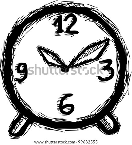 hand drawing of clock - stock vector