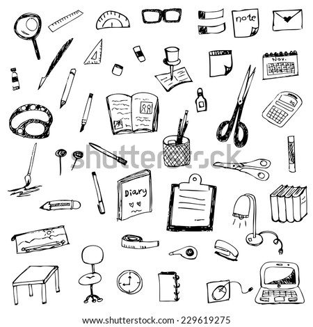 hand drawing of stationery vector set - stock vector