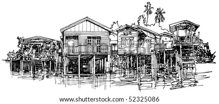 Hand drawing of typical house along the canal near Bangkok in Thailand