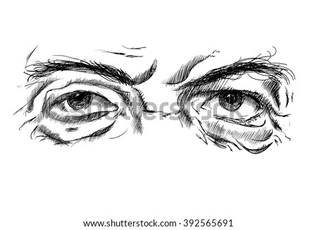 Hand drawing old man's eyes with glasses on a white background - stock vector