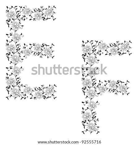 Hand drawing ornamental alphabet. Letter EF. Rasterized version also available in portfolio.