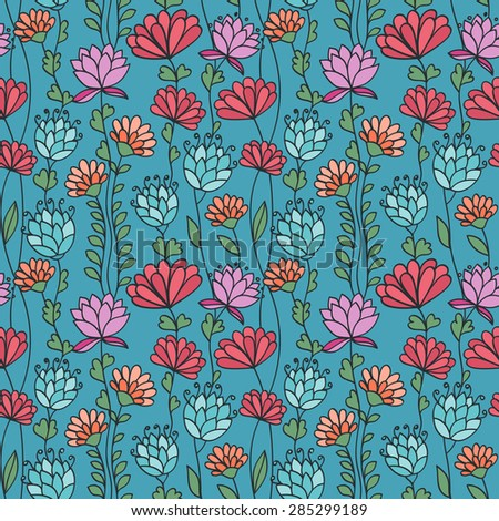 Hand drawing ornamental backgrounds with flowers. Seamless pattern. Vector illustration - stock vector