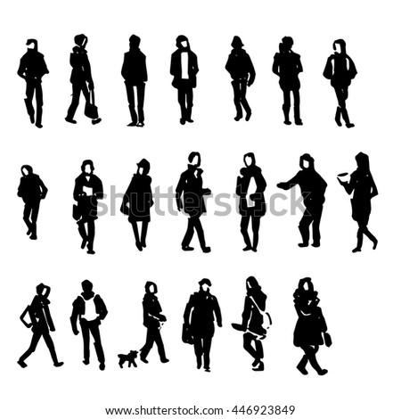 Hand drawing people sketch collection, vector Illustration.