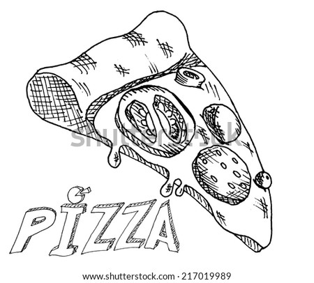 Hand drawing pizza - stock vector