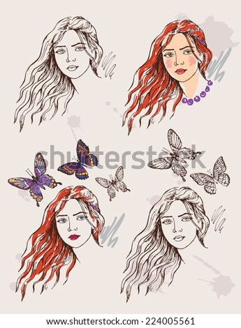 hand drawing portrait of young girl - stock vector