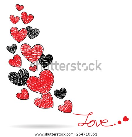 Hand drawing red and black hearts, Valentines background, Vector Illustration EPS 10. - stock vector