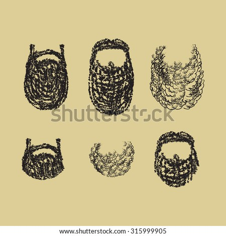 hand drawing set of beard with mustache and without for hipsters, Santa Claus, icons, hairdressers - stock vector