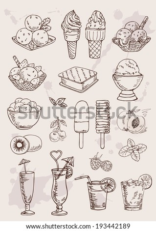 hand drawing set of ice cream and coctails - stock vector