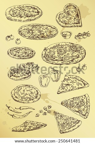 hand drawing set of pizza - stock vector