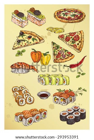 hand drawing set of pizza and sushi - stock vector