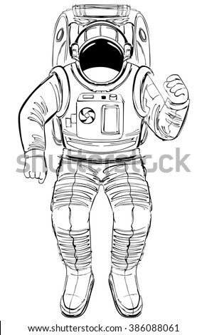 hand-drawing sketch astronaut