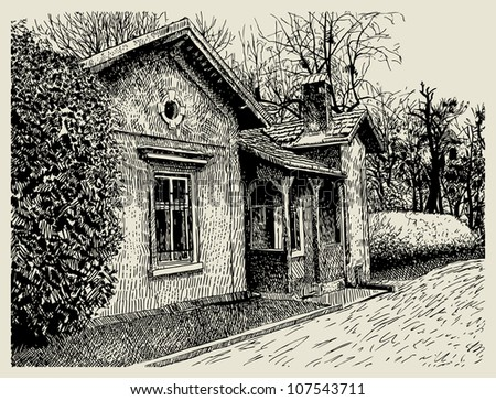 hand drawing sketchy artistic village landscape composition with old building. I am author of this illustration - stock vector