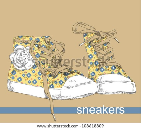 Hand drawing sneakers shoes. - stock vector