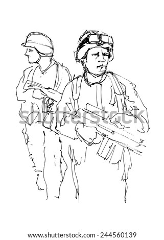 Hand drawing soldiers. Vector illustration - stock vector