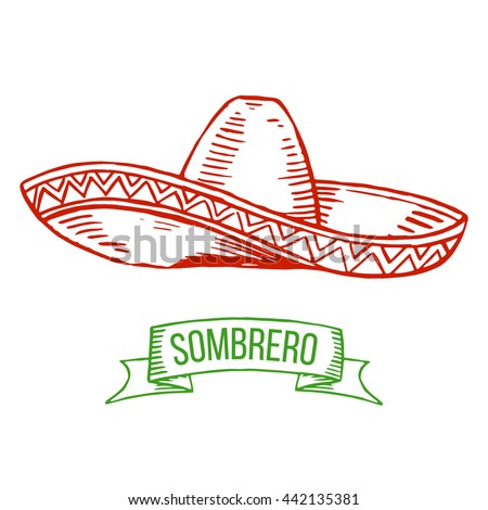Hand drawing sombrero isolated on white background. Symbol of Mexican, national costume. Vector.