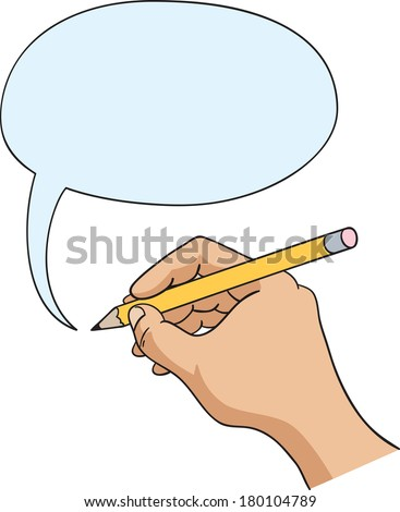 Hand drawing speech bubble, hand and comic speech balloon - stock vector