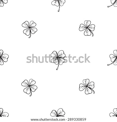 Hand drawing symbols of luck seamless pattern. Vector background with clover and quatrefoil on white background. Chess grid order - stock vector