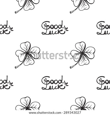 Hand Drawing Symbols Luck Seamless Pattern Stock Vector 289343027