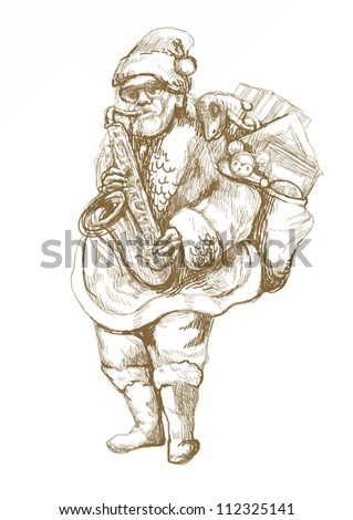 hand drawing using digital tablet (this is drawing converted into vector, resolution at 300 dpi, A4 international size) - - brown lines sketch bearded Santa Claus playing the saxophone - stock vector