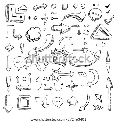 Hand drawing vector arrow collection isolated on lined paper - stock vector