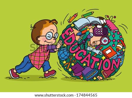 hand drawing vector illustration. Cartoon boy rolls circle icons Knowledge. - stock vector