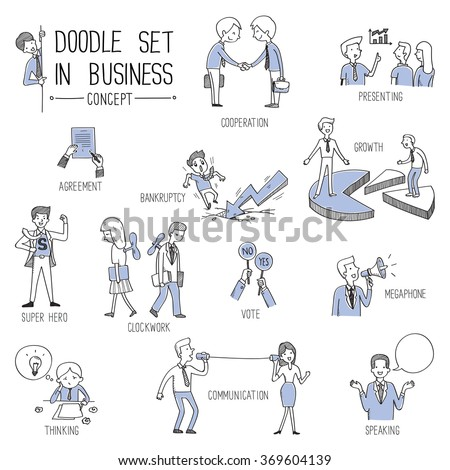 Hand drawing vector illustration set in business concept, doodle style.  - stock vector