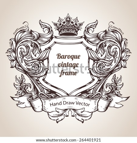 Hand drawing vintage baroque frame - stock vector