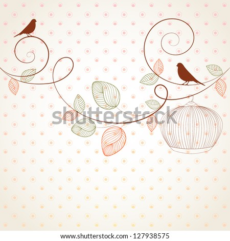 Hand-drawing vintage floral background with flower buds and bird. Element for design. Vector illustration. - stock vector