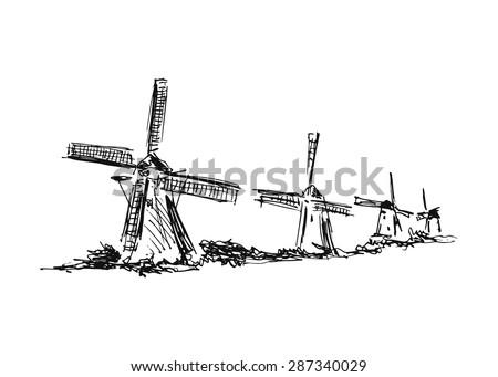 Hand drawing windmills - stock vector