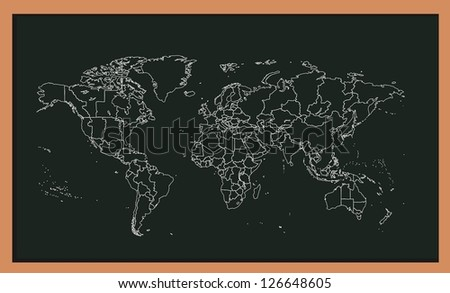 hand drawing world map - stock vector