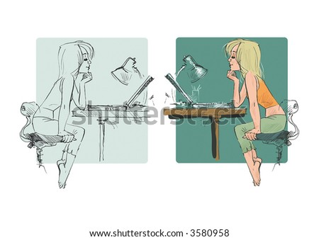 Hand-drawing young woman using laptop to communicate. Vector Illustration